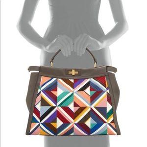 RARE large Fendi geometric print peekaboo satchel